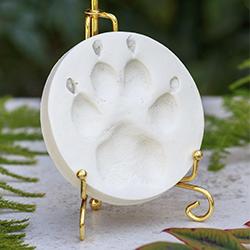 white clay paw print
